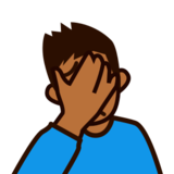 Person Facepalming: Medium-Dark Skin Tone on emojidex 1.0.24