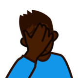 Person Facepalming: Dark Skin Tone on emojidex 1.0.24