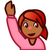 Person Raising Hand: Medium-Dark Skin Tone on emojidex 1.0.24