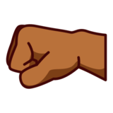 Left-Facing Fist: Medium-Dark Skin Tone on emojidex 1.0.24