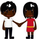 Woman and Man Holding Hands: Dark Skin Tone on emojidex 1.0.24