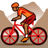 Person Mountain Biking: Medium-Dark Skin Tone on emojidex 1.0.24