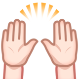Raising Hands: Light Skin Tone on emojidex 1.0.24
