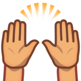 Raising Hands: Medium Skin Tone on emojidex 1.0.24