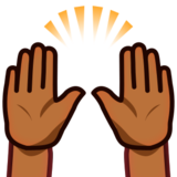 Raising Hands: Medium-Dark Skin Tone on emojidex 1.0.24