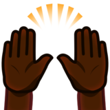 Raising Hands: Dark Skin Tone on emojidex 1.0.24