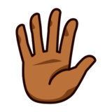 Hand with Fingers Splayed: Medium-Dark Skin Tone on emojidex 1.0.24