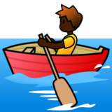 Person Rowing Boat: Dark Skin Tone on emojidex 1.0.24