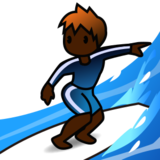 Person Surfing: Dark Skin Tone on emojidex 1.0.24