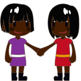 Women Holding Hands: Dark Skin Tone on emojidex 1.0.24