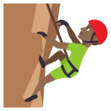 Man Climbing: Medium-Dark Skin Tone on JoyPixels 3.1