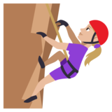Woman Climbing: Medium-Light Skin Tone on JoyPixels 3.1