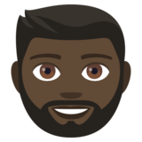 Man: Dark Skin Tone, Beard on JoyPixels 4.0
