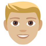 Man: Medium-Light Skin Tone, Blond Hair on JoyPixels 4.0