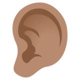 Ear: Medium Skin Tone on JoyPixels 4.0