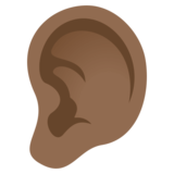 Ear: Medium-Dark Skin Tone on EmojiOne 4.0