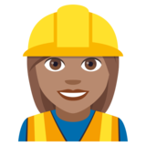 Woman Construction Worker: Medium Skin Tone on JoyPixels 4.0