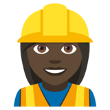 Woman Construction Worker: Dark Skin Tone on JoyPixels 4.0