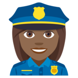 Woman Police Officer: Medium-Dark Skin Tone on JoyPixels 4.0