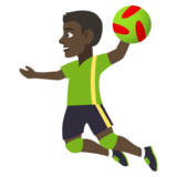 Person Playing Handball: Dark Skin Tone on JoyPixels 4.0