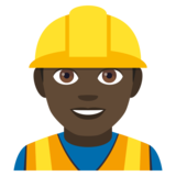 Man Construction Worker: Dark Skin Tone on JoyPixels 4.0