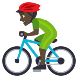 Man Biking: Dark Skin Tone on JoyPixels 4.0