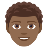 Man: Medium-Dark Skin Tone, Curly Hair on JoyPixels 4.0