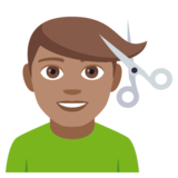 Man Getting Haircut: Medium Skin Tone on EmojiOne 4.0