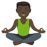 Man in Lotus Position: Dark Skin Tone on JoyPixels 4.0