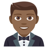 Person in Tuxedo: Medium-Dark Skin Tone on JoyPixels 4.0