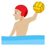 Man Playing Water Polo: Medium-Light Skin Tone on JoyPixels 4.0
