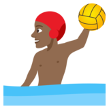Man Playing Water Polo: Medium-Dark Skin Tone on JoyPixels 4.0