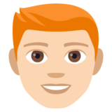 Man: Light Skin Tone, Red Hair on JoyPixels 4.0