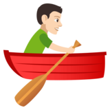 Man Rowing Boat: Light Skin Tone on JoyPixels 4.0