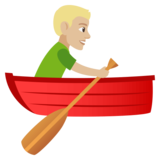 Man Rowing Boat: Medium-Light Skin Tone on JoyPixels 4.0