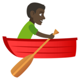 Man Rowing Boat: Dark Skin Tone on JoyPixels 4.0