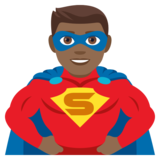 Man Superhero: Medium-Dark Skin Tone on JoyPixels 4.0