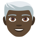 Man: Dark Skin Tone, White Hair on JoyPixels 4.0