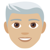 Man: Medium-Light Skin Tone, White Hair on JoyPixels 4.0