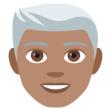Man: Medium Skin Tone, White Hair on JoyPixels 4.0