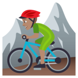 Person Mountain Biking: Medium Skin Tone on JoyPixels 4.0
