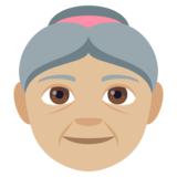 Old Woman: Medium-Light Skin Tone on JoyPixels 4.0