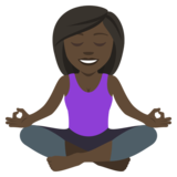 Person in Lotus Position: Dark Skin Tone on JoyPixels 4.0