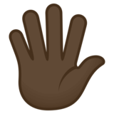 Hand with Fingers Splayed: Dark Skin Tone on JoyPixels 4.0