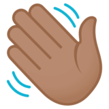 Waving Hand: Medium Skin Tone on JoyPixels 4.0
