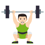 Person Lifting Weights: Light Skin Tone on JoyPixels 4.0