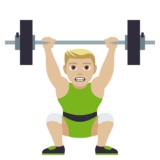 Person Lifting Weights: Medium-Light Skin Tone on JoyPixels 4.0