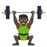 Person Lifting Weights: Dark Skin Tone on JoyPixels 4.0