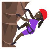 Woman Climbing: Dark Skin Tone on JoyPixels 4.0
