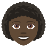 Woman: Dark Skin Tone, Curly Hair on EmojiOne 4.0